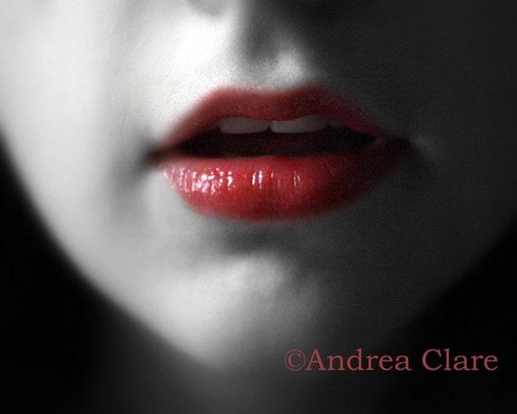Lips as Red as Blood, 8x10 Fine Art Photograph, Snow White, Portrait, Woman, lips, print, andrea clare, romantic, juliet, fantasy, desire