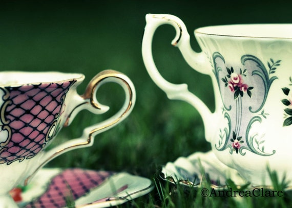 Wonderland Tea Cups, 5x7 Fine Art Photograph, Vintage, Kitchen, Shabby Chic, england, tea lover, print, photo, kitchen, picture, green