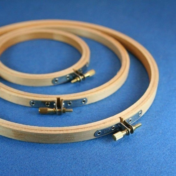Three Wood Embroidery Hoops available in 3, 4, 5, 6, 7, 8, 9, 10 & 12 inch circles.