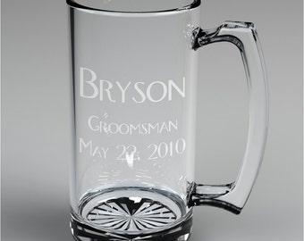 3 Personalized Groomsman Beer Mugs Custom Engraved