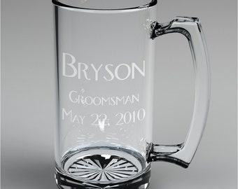 11 Personalized Groomsman Beer Mugs Custom Engraved Wedding Gift.