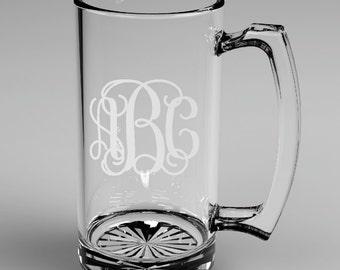 5 Personalized Groomsman Vine Monogram Beer Mugs Custom Engraved