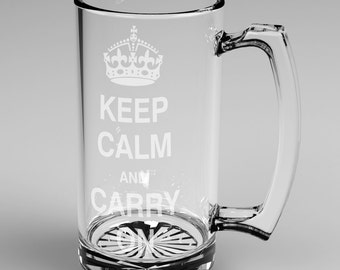 Keep Calm and Carry On Engraved Tall Glass Beer Mug