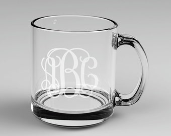 9 Personalized Vine Monogram Glass Mugs Custom Engraved