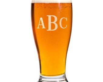 6 Personalized Pilsner Pub Beer Glasses Custom Engraved Roman Monogram