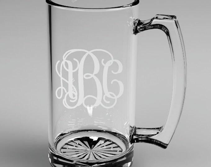 1 Personalized Groomsman Vine Monogram Beer Mug Custom Engraved Wedding Gift.