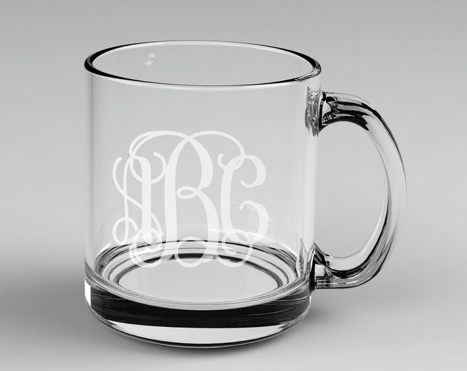 8 Personalized Vine Monogram Glass Mugs Custom Engraved