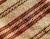 Antique French TICKING Fabric- RARE- 1800's Madder Brown - Half Yard