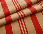 Reserved for Joy - ANTIQUE  Red and Tan Ticking FABRIC - From Old Feather bed - 31 x 36 - A FULL Yard