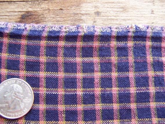 Antique HOMESPUN FABRIC Country Plaid/check Indigo Blue - 1800's Quilt Backing Primitive