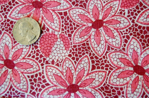 Antique  FABRIC 30s FeedSack Calico Fabric - 2 tone Pink  Floral on White Background