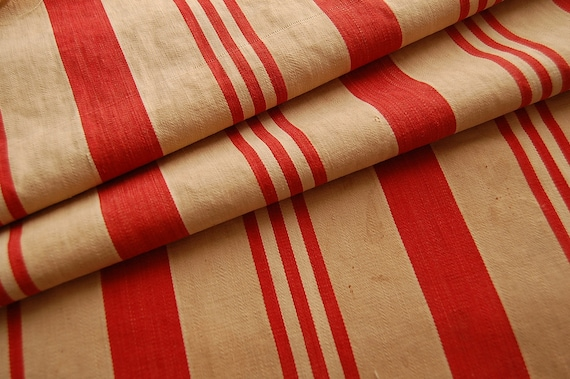 ANTIQUE  Red and Tan Ticking FABRIC - From Old Feather bed - 31 x 36 - A FULL Yard