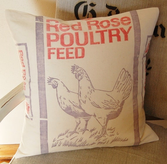 Vintage Feed Sack Pillow Poultry Feed Hen Chickens Red