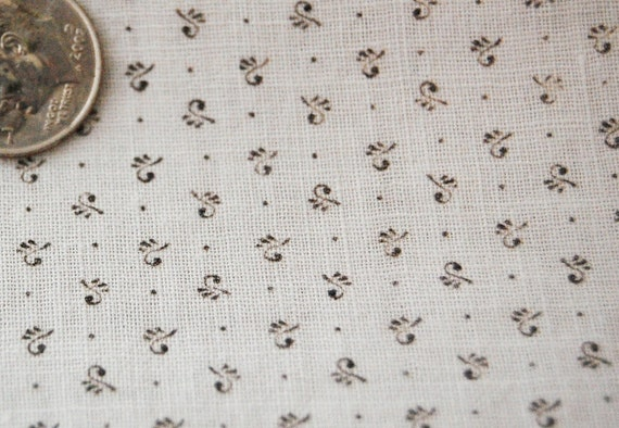 Tiny Calico Fabric - BLACK and WHITE Shirting Material -  1800's Cotton YARDAGE