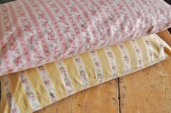 Vintage Pillow Ticking Cover with Zipper - Pink Roses and White
