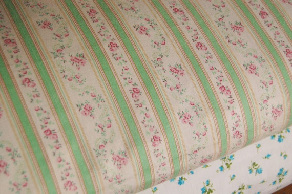 Vintage Pillow Ticking Cover with Zipper - Rose Pink Roses and Mint Green Stripes