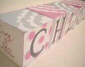 POLKA DOT BLOOMS Jumbo Handpainted Blocks with Personalized Birth Info