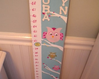 Wooden Growth Chart- Personalized and Handpainted- PEACEFUL OWLS Theme