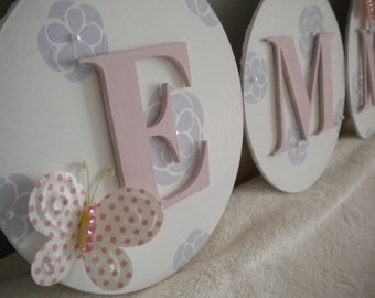PRETTY ZINNIA Handpainted Hanging Wooden Letters