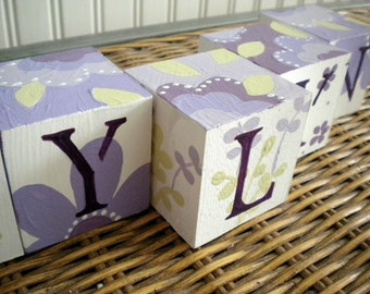 Baby Name Blocks- Personalized and Handpainted- VERY MULBERRY Theme