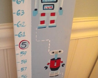 Wooden Growth Chart- Personalized and Handpainted- Rad Robots Theme