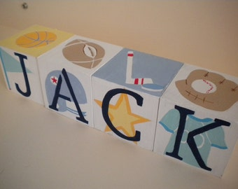 Personalized Baby Name Blocks- Jumbo Size- SPORTS STAR Theme