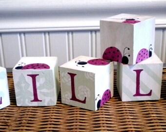 Personalized Baby Name Blocks- LOVELY LADYBUGS Theme