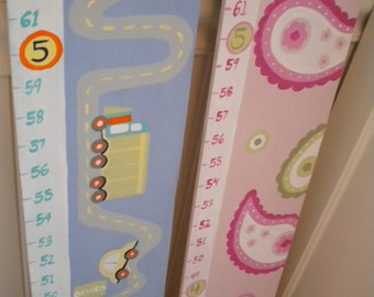 Wooden Growth Chart- Personalized and Handpainted- CARS N TRUCKS Theme