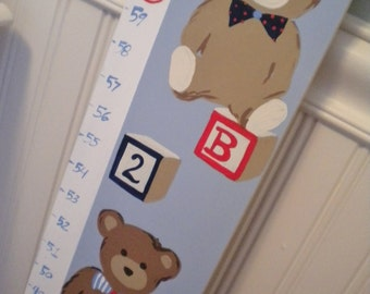 Wooden Growth Chart- Personalized and Handpainted- TEDDY BEARS Theme