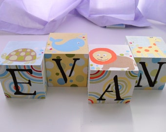 Baby Name Blocks- Personalized and Handpainted- HAPPY FRIENDS Theme
