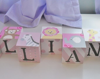 Baby Name Blocks- Personalized and Handpainted- JUNGLE FRIENDS Theme