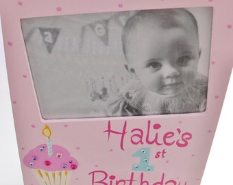 FIRST BIRTHDAY Handpainted Picture Frame for Baby