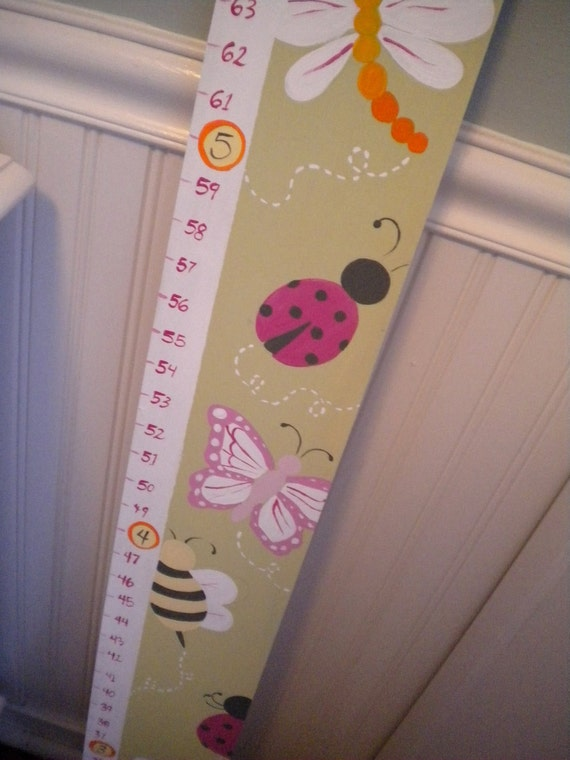 Wooden Growth Chart- Personalized and Handpainted- LADYBUG FRIENDS Theme