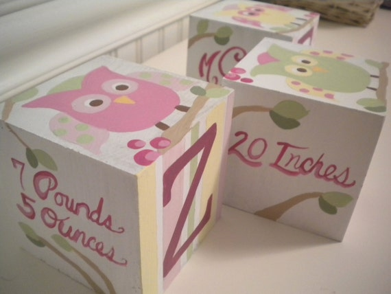 PEACEFUL OWLS Jumbo Handpainted Blocks with Personalized Birth Info