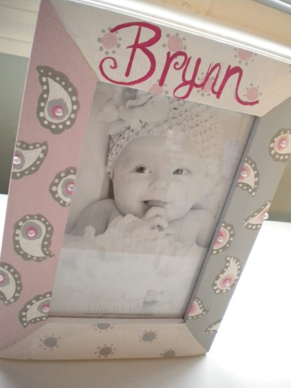 PAISLEY PARADISE Custom Handpainted Picture Frame for Kids