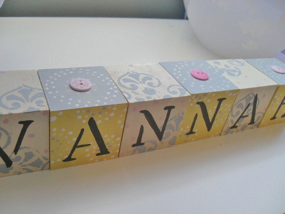 Personalized Baby Name Blocks with Buttons- GRAY DAMASK Theme