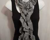 Grey Jersey Knit Ruffle Scarf -Long Double Strand