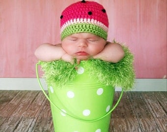 Crochet Summer Watermelon 0 to 3 months - Made to Order