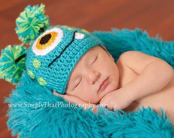 Crochet Baby Hat Little Monster made to order 0 to 3 months