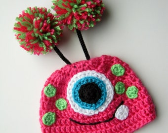 Crochet Mommys Monster Baby Hat Made To Order Size 0 to 3 months