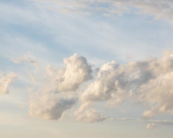 Nature Photograph - Sky, Dreamy Clouds, Whimsy, Blue Sky - Drifting