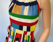 Reserved for monicker, please do not purchase   Hello Love... Vintage 70's Barbara Quincy Colorful Patchwork Open Back Halter Dress