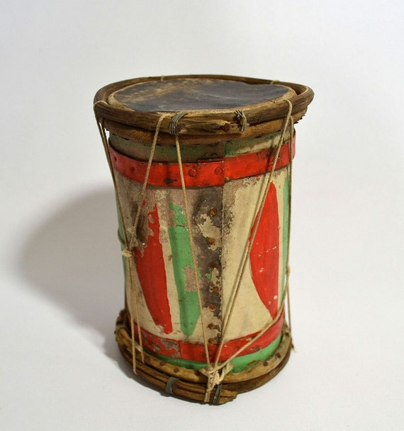 Peyote Song... Antique Native American Painted Small Hide Covered Wooden Drum