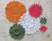 Hand dyed Crochet Doily Pack of 6 - Autumn Dream