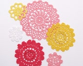 Hand dyed Crochet Doily Pack of 6 - Sherbet Blooms - Coral pink, Sunshine yellow, Raspberry, White