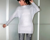 Silver Stylish Metallic Knit Sweater Feminine And Sexy Size XS S M L