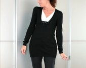 Black Womens Embroidery Embellished Wool Slim Sweater Size XS S M