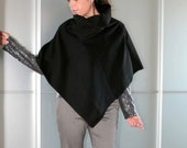 Black Wool Stylish Poncho Cape Size XS S M L