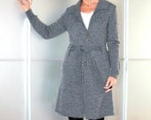 Grey Womens Knit Long Coat Cardigan Size XS S M L