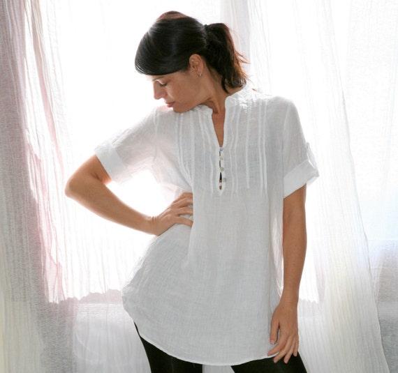 White  Women Oversized Boyfriend Shirt / Dress S M L Made to Order